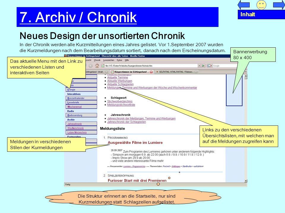 7. Archiv / Chronik Neues Design der unsortierten Chronik Inhalt