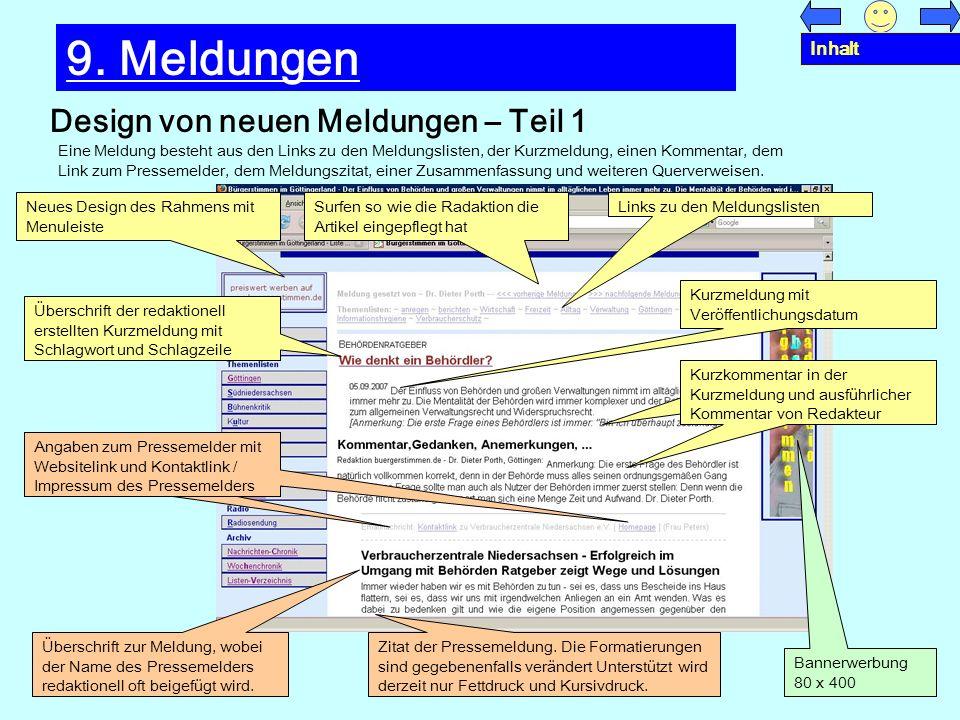 9. Meldungen Design von neuen Meldungen – Teil 1 Inhalt