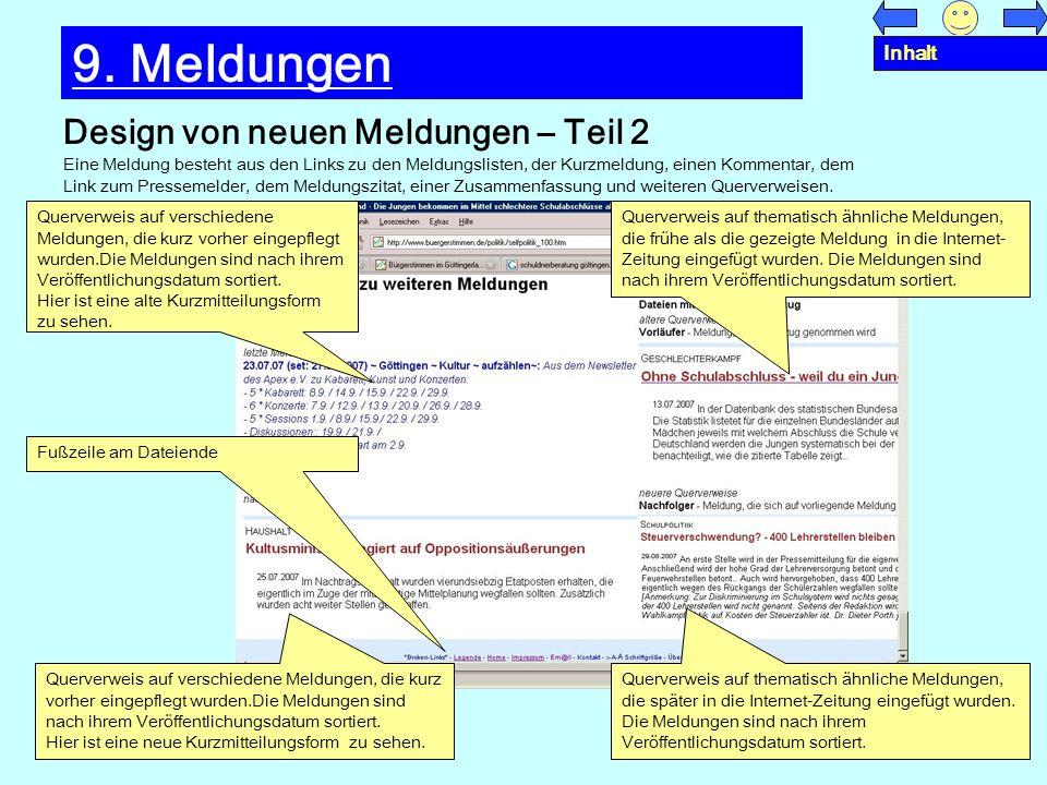 9. Meldungen Design von neuen Meldungen – Teil 2 Inhalt