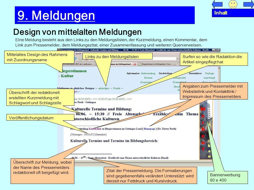 9. Meldungen Design von mittelalten Meldungen Inhalt