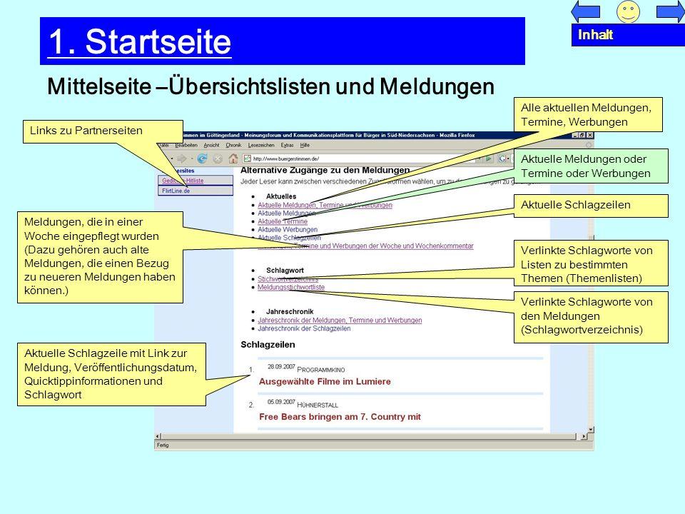 1. Startseite Mittelseite –Übersichtslisten und Meldungen Inhalt