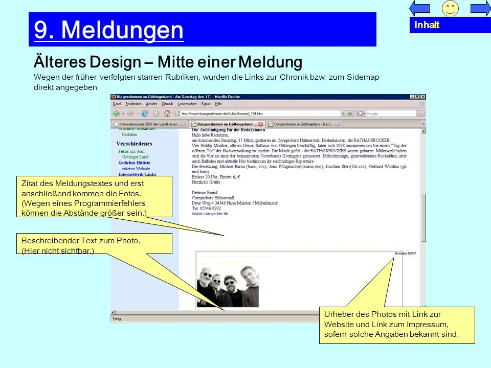 9. Meldungen Älteres Design – Mitte einer Meldung Inhalt