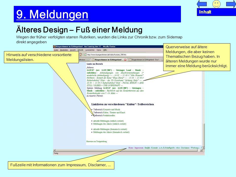 9. Meldungen Älteres Design – Fuß einer Meldung Inhalt