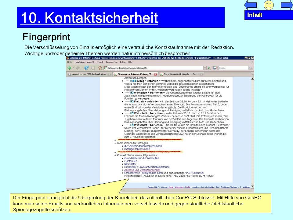 10. Kontaktsicherheit Fingerprint Inhalt