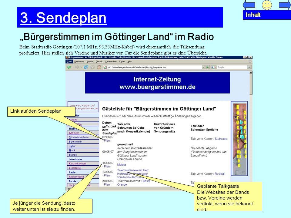 "3. Sendeplan ""Bürgerstimmen im Göttinger Land im Radio Inhalt"