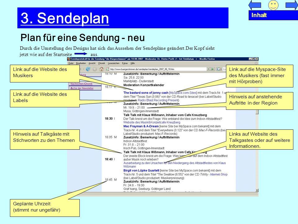 3. Sendeplan Plan für eine Sendung - neu Inhalt