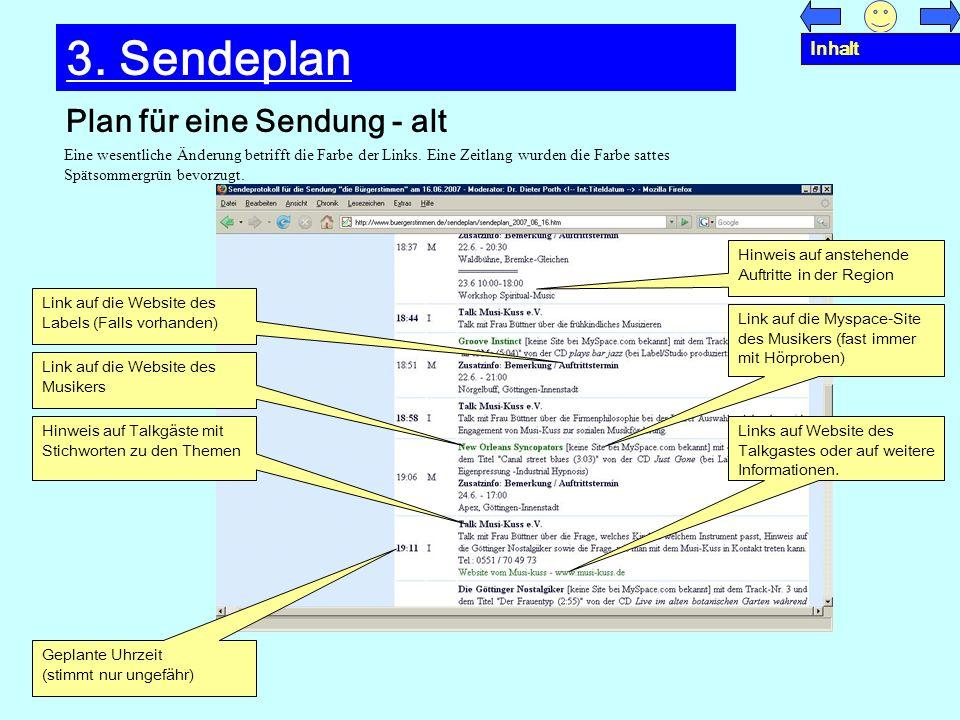 3. Sendeplan Plan für eine Sendung - alt Inhalt