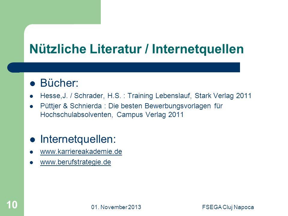 Nützliche Literatur / Internetquellen