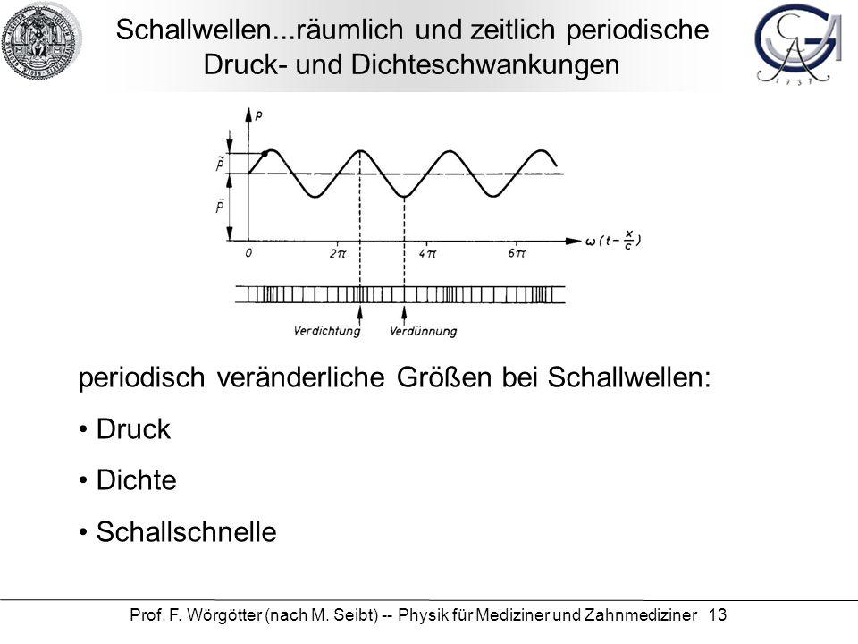 periodisch veränderliche Größen bei Schallwellen: Druck Dichte