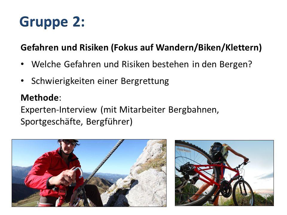 Gruppe 2: Gefahren und Risiken (Fokus auf Wandern/Biken/Klettern)
