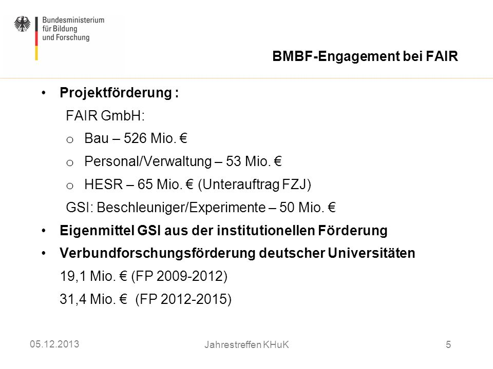BMBF-Engagement bei FAIR