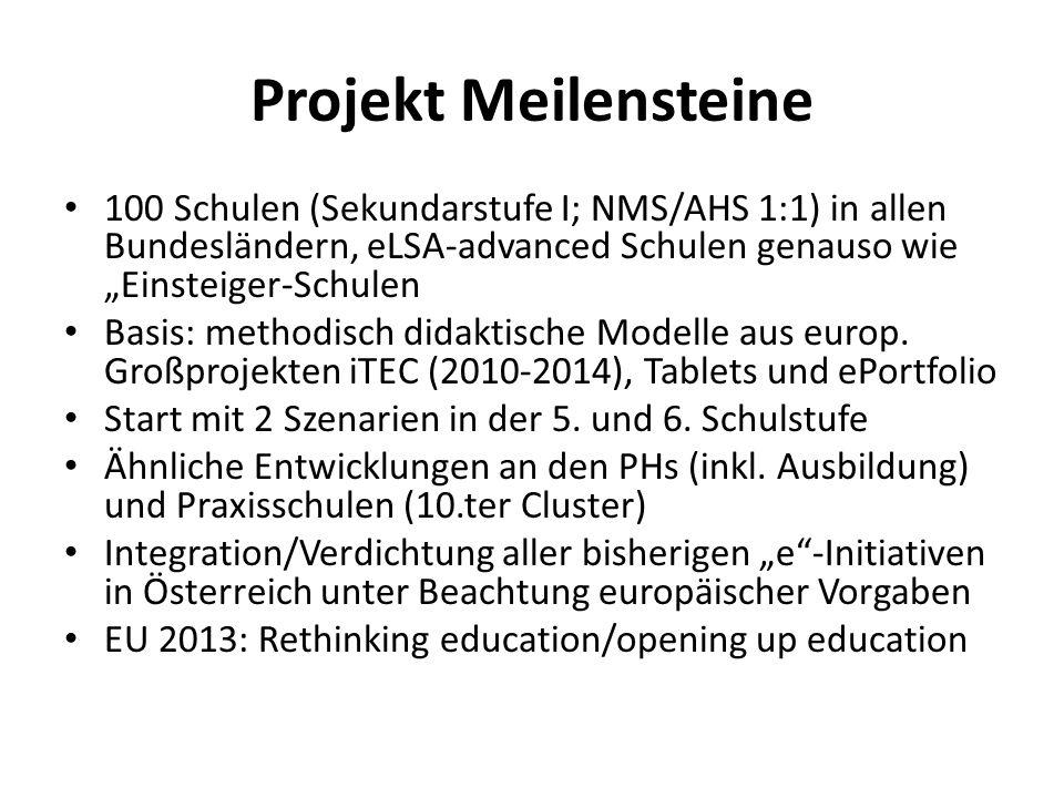 """Projekt Meilensteine 100 Schulen (Sekundarstufe I; NMS/AHS 1:1) in allen Bundesländern, eLSA-advanced Schulen genauso wie """"Einsteiger-Schulen."""