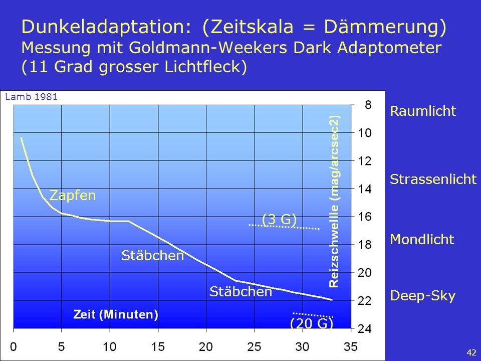 Dunkeladaptation: (Zeitskala = Dämmerung) Messung mit Goldmann-Weekers Dark Adaptometer (11 Grad grosser Lichtfleck)
