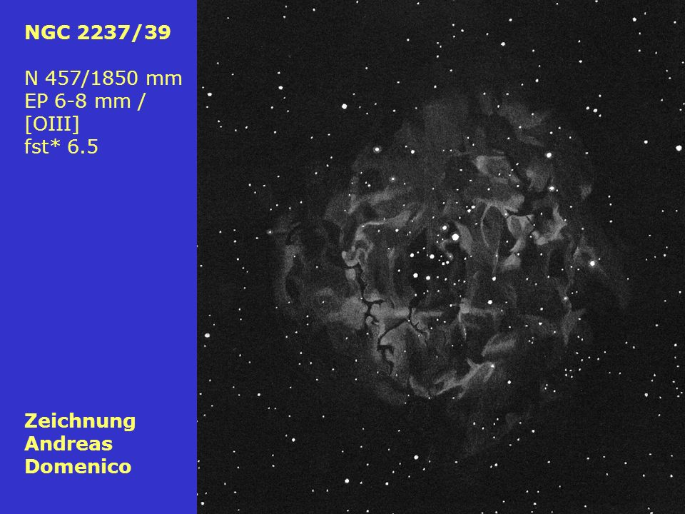 NGC 2237/39 N 457/1850 mm EP 6-8 mm / [OIII] fst* 6.5 Zeichnung Andreas Domenico