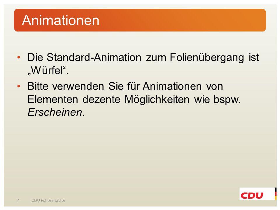 """Animationen Die Standard-Animation zum Folienübergang ist """"Würfel ."""