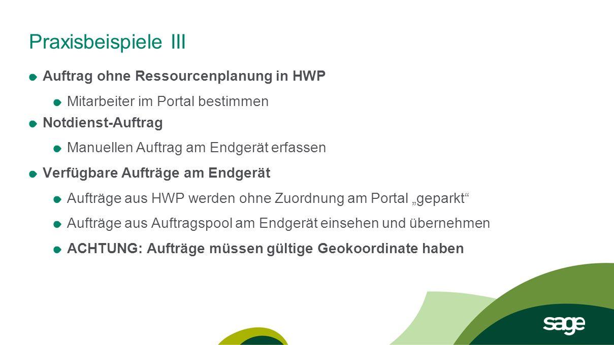 Praxisbeispiele III Auftrag ohne Ressourcenplanung in HWP