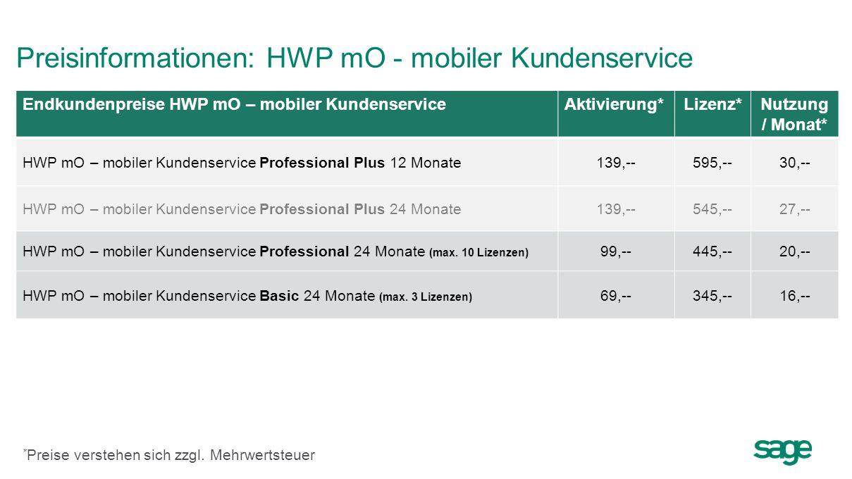 Preisinformationen: HWP mO - mobiler Kundenservice