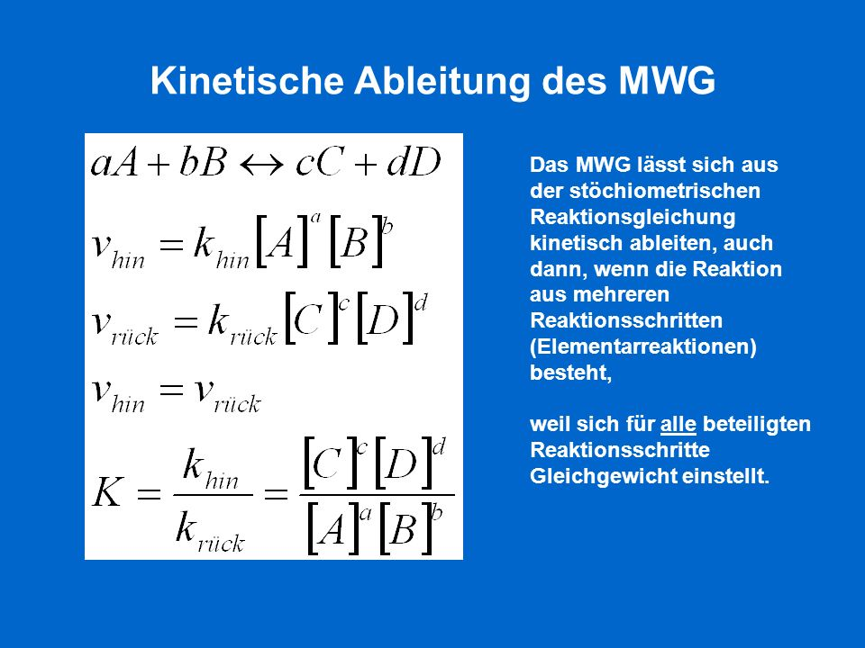 Kinetische Ableitung des MWG