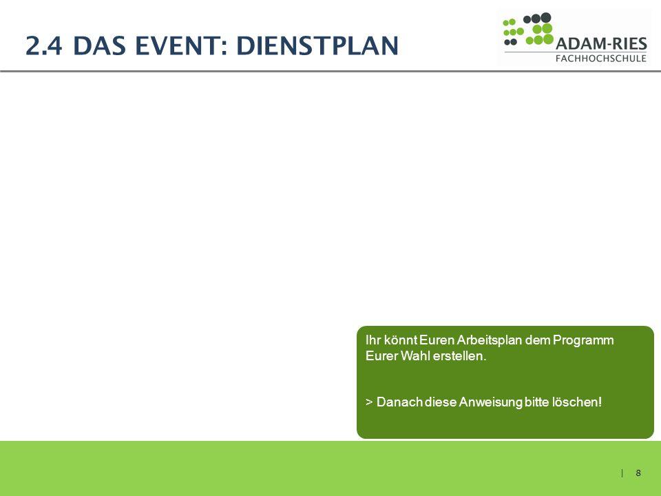 2.4 Das Event: Dienstplan Ihr könnt Euren Arbeitsplan dem Programm