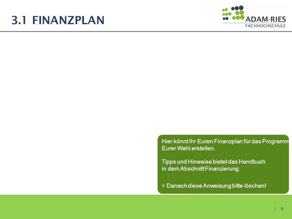 3.1 Finanzplan Hier könnt Ihr Euren Finanzplan für das Programm Eurer Wahl erstellen. Tipps und Hinweise bietet das Handbuch.