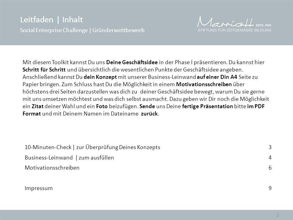 Leitfaden | Inhalt Social Enterprise Challenge | Gründerwettbewerb