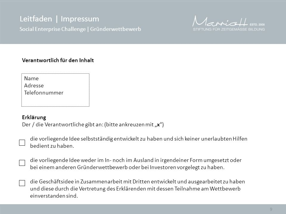 Leitfaden | Impressum Social Enterprise Challenge | Gründerwettbewerb