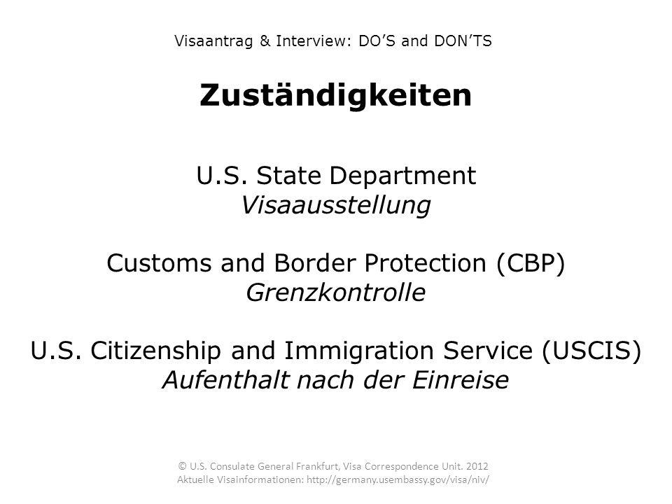 Zuständigkeiten U.S. State Department Visaausstellung