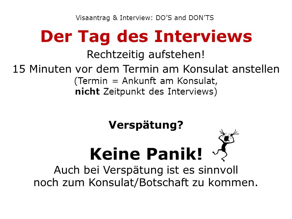 Visaantrag & Interview: DO'S and DON'TS