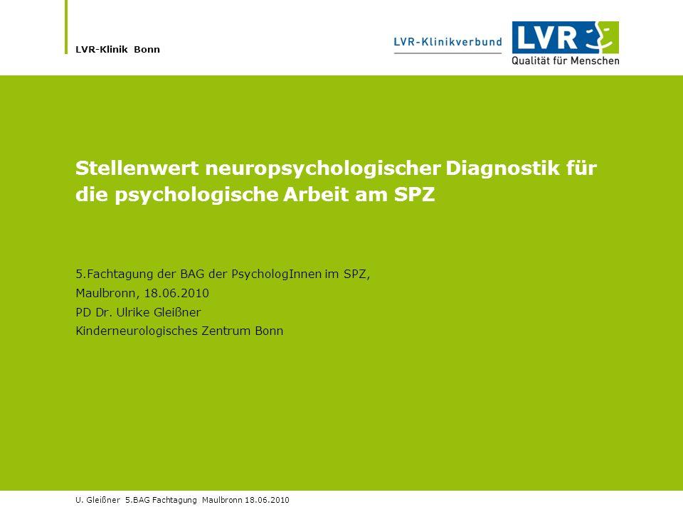 Stellenwert neuropsychologischer Diagnostik für die psychologische Arbeit am SPZ