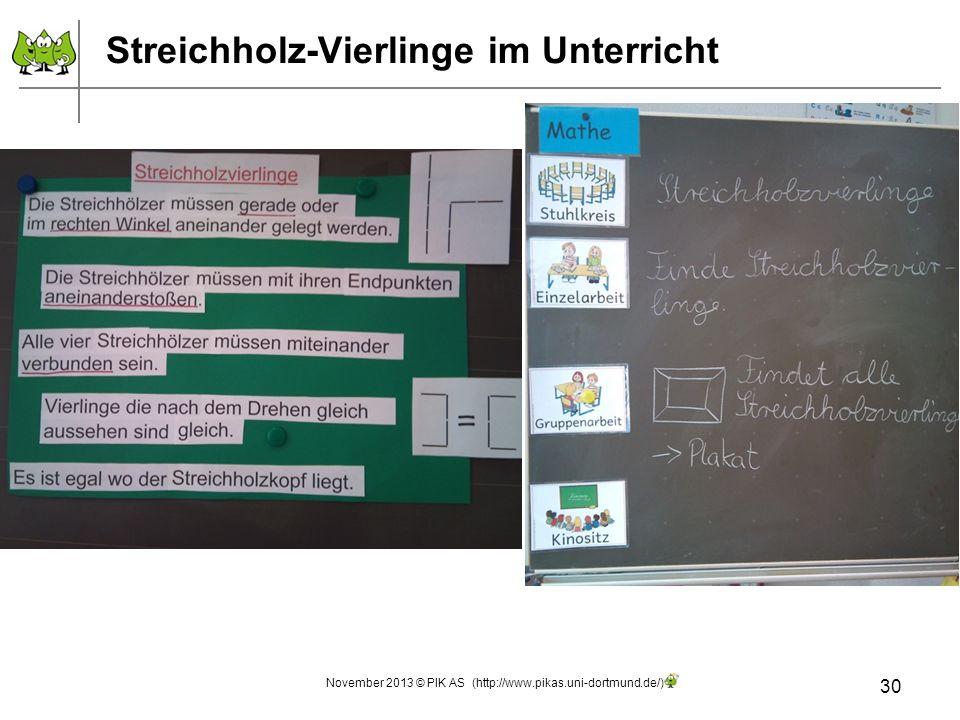 Streichholz-Vierlinge im Unterricht