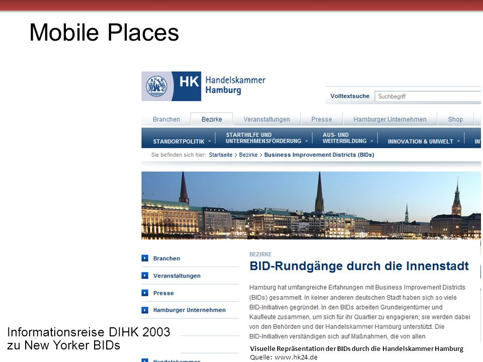 Mobile Places Informationsreise DIHK 2003 zu New Yorker BIDs