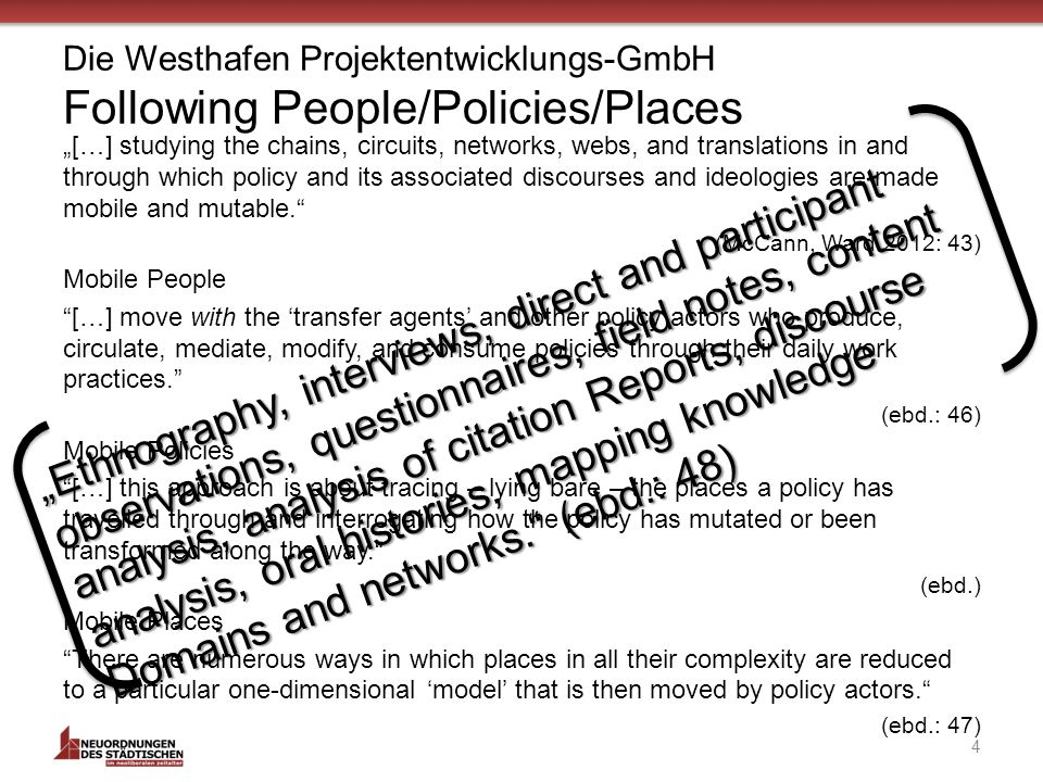 Die Westhafen Projektentwicklungs-GmbH Following People/Policies/Places