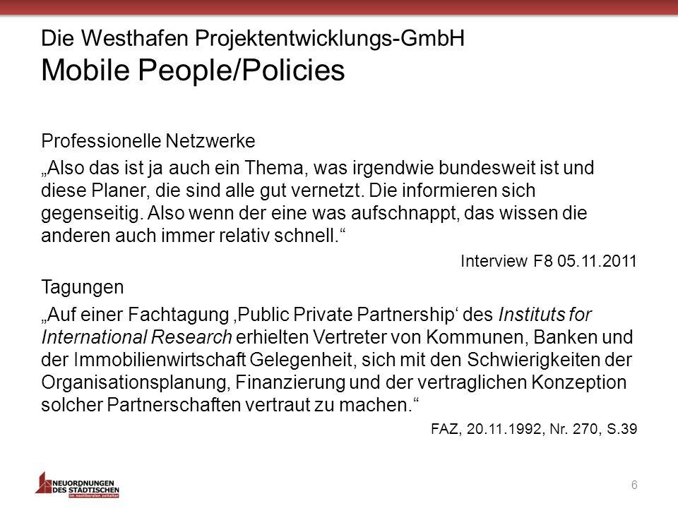 Die Westhafen Projektentwicklungs-GmbH Mobile People/Policies