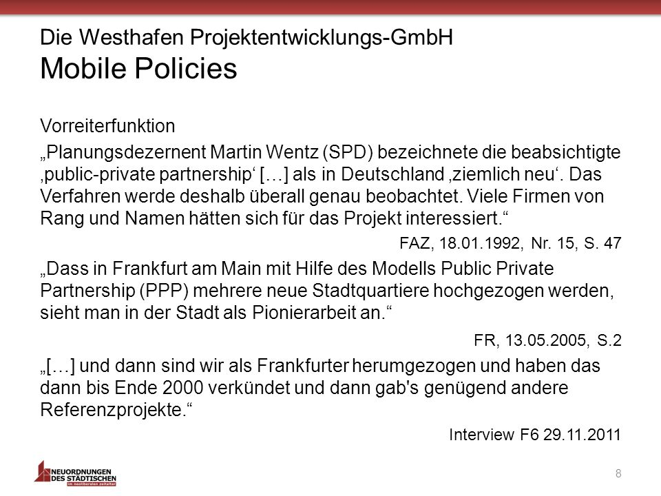 Die Westhafen Projektentwicklungs-GmbH Mobile Policies