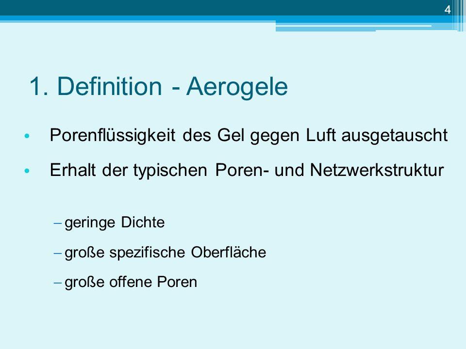 1. Definition - Aerogele Porenflüssigkeit des Gel gegen Luft ausgetauscht. Erhalt der typischen Poren- und Netzwerkstruktur.