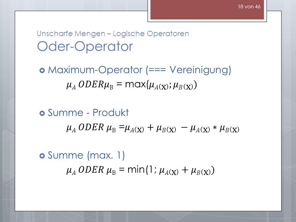 Unscharfe Mengen – Logische Operatoren Oder-Operator