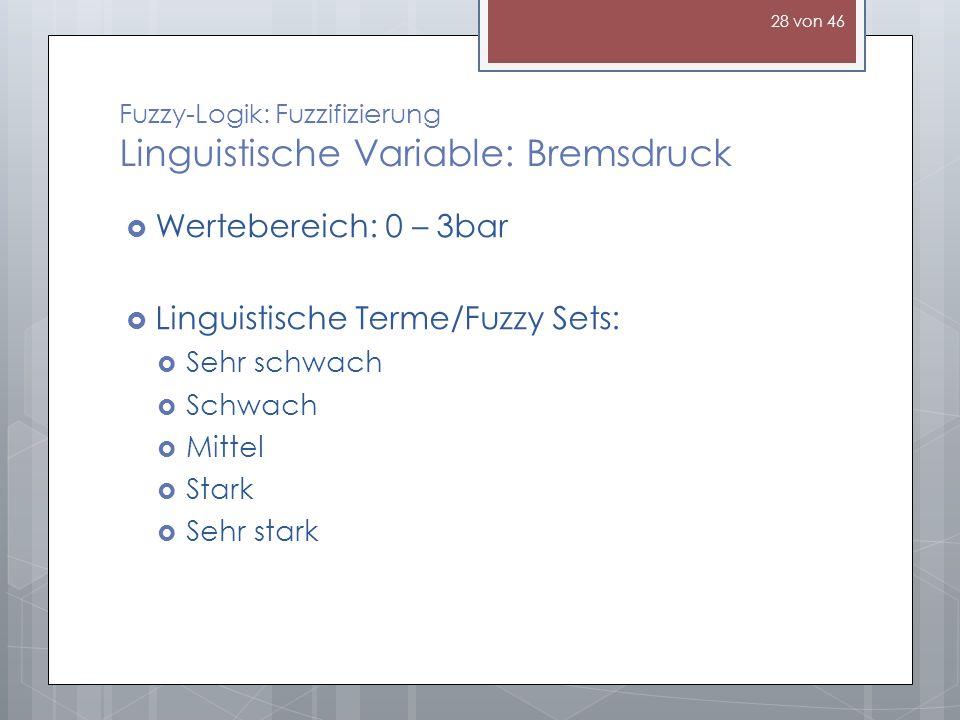 Fuzzy-Logik: Fuzzifizierung Linguistische Variable: Bremsdruck