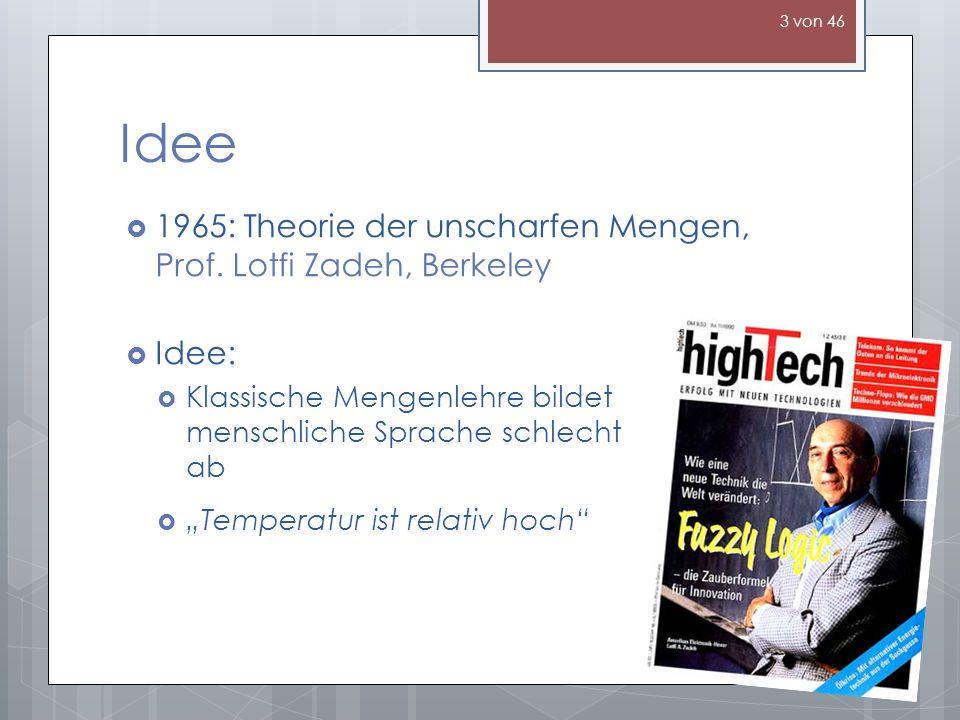 Idee 1965: Theorie der unscharfen Mengen, Prof. Lotfi Zadeh, Berkeley