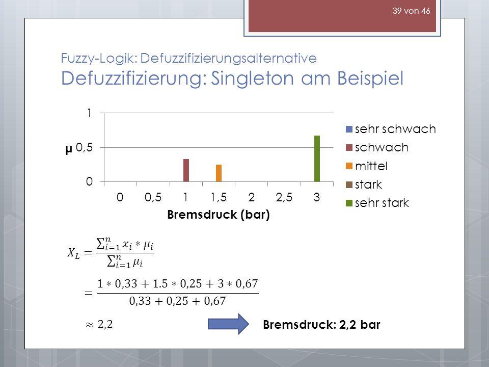 Fuzzy-Logik: Defuzzifizierungsalternative Defuzzifizierung: Singleton am Beispiel