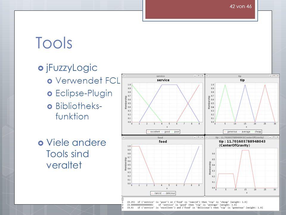 Tools jFuzzyLogic Viele andere Tools sind veraltet Verwendet FCL