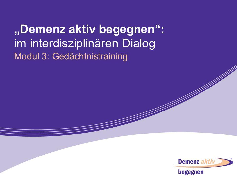 """""""Demenz aktiv begegnen : im interdisziplinären Dialog"""