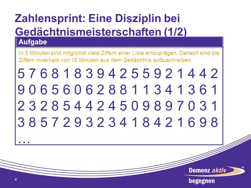 Zahlensprint: Eine Disziplin bei Gedächtnismeisterschaften (1/2)