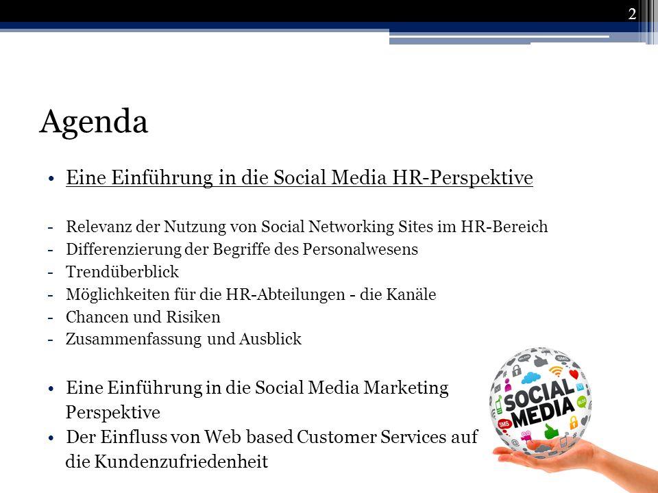 Agenda Eine Einführung in die Social Media HR-Perspektive