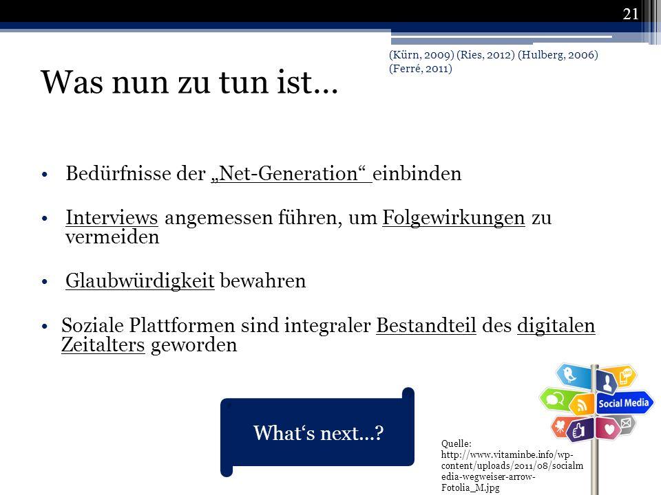 """Was nun zu tun ist… Bedürfnisse der """"Net-Generation einbinden"""