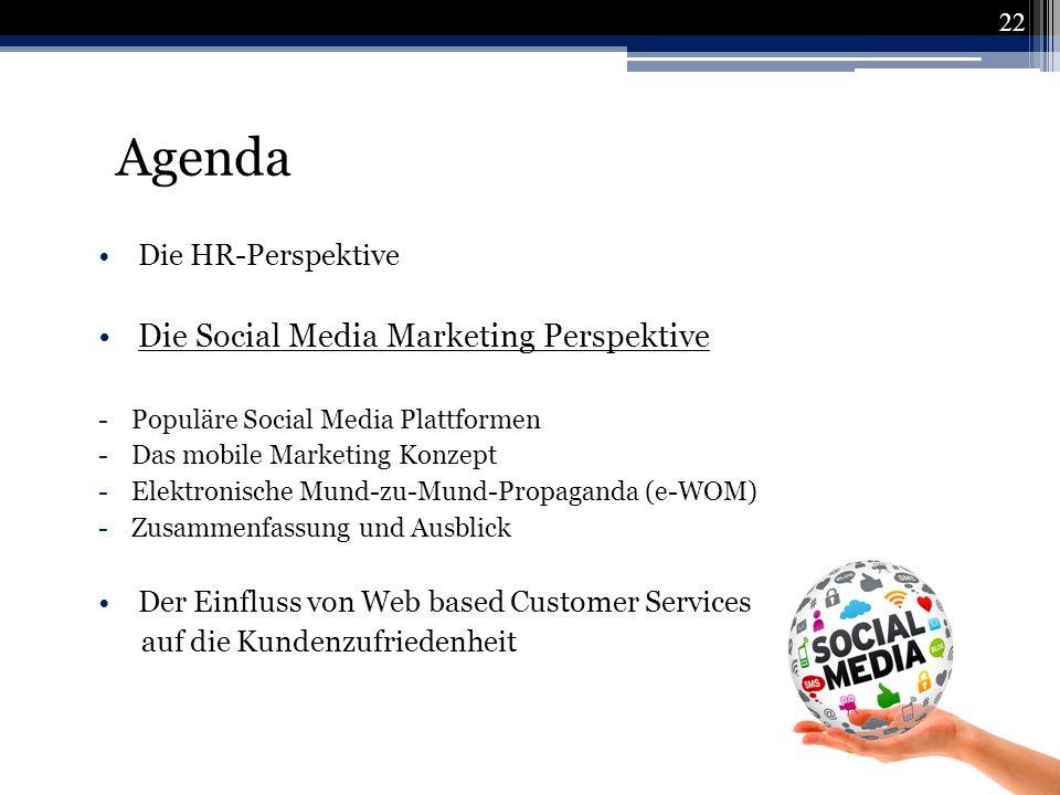 Agenda Die Social Media Marketing Perspektive Die HR-Perspektive