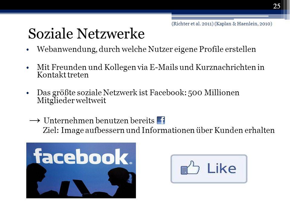 Soziale Netzwerke → Unternehmen benutzen bereits