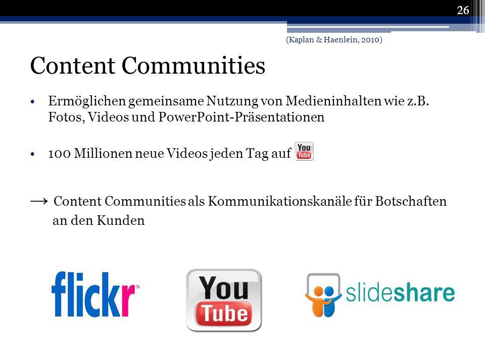 → Content Communities als Kommunikationskanäle für Botschaften