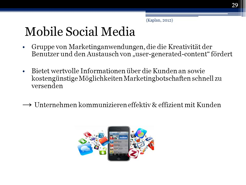 29 Mobile Social Media. (Kaplan, 2012)
