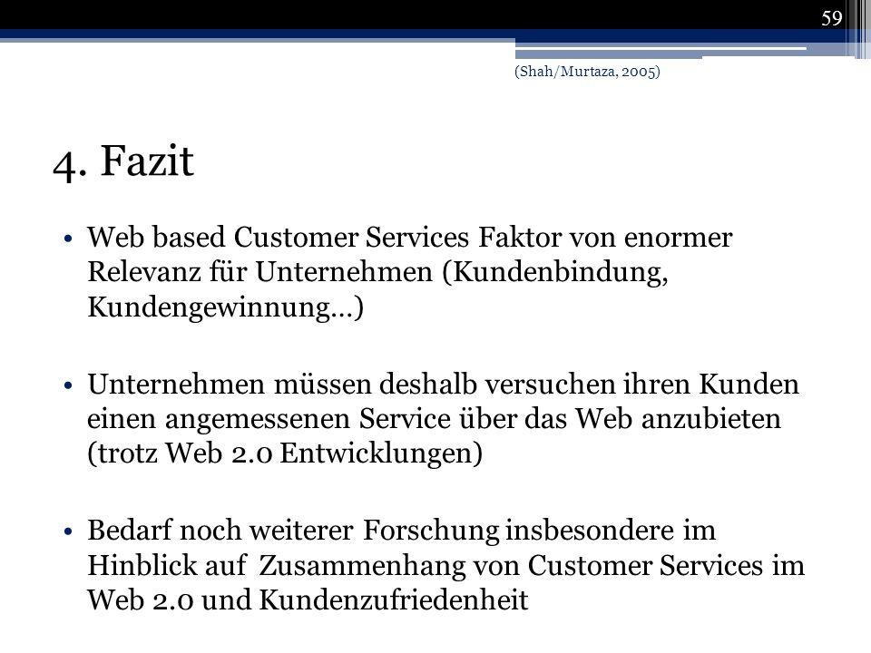 (Shah/Murtaza, 2005) 4. Fazit. Web based Customer Services Faktor von enormer Relevanz für Unternehmen (Kundenbindung, Kundengewinnung…)