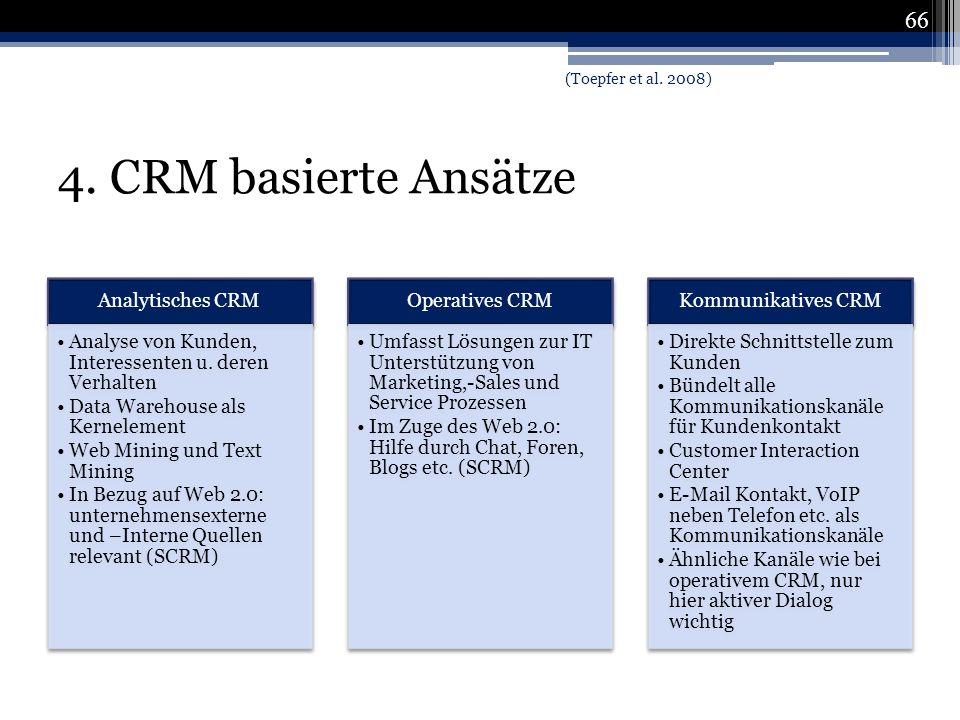 4. CRM basierte Ansätze (Toepfer et al. 2008) Analytisches CRM